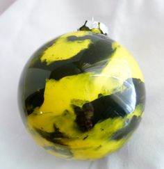 Hand Painted Glass Ball Christmas Ornament  Black and by StudioCKH, $5.00