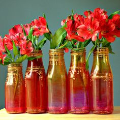 Group of Five Hand Painted Flower Bud Vases With by LITdecor, $45.00