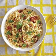 Timing on this recipe is important, so have your bacon cooked and eggs ready when the pasta is done. Do not let the pasta drain completely; for the creamiest sauce, you want a little of the water still clinging to the noodles when you add them to the eggs.
