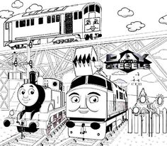 thomas and friends day of the diesels coloring for kids - Thomas Friend Coloring Pages