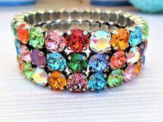 Sparkle In Color,Swarovski Crystal 3 Row 8mm Stretch Bracelet,Multi Color,Popular,Best Seller,Must Have,DKSJewelrydesigns,FREE SHIPPING