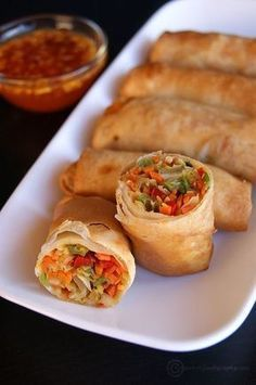 """Made these wonderful """"Veg Spring Rolls"""", crispy on the outside and juice, delicious in the inside, for the Chinese New Year. Chinese New Year is also known as Spring Festival and since spring rolls are usually eaten during the Spring Festival in China, h Veggie Recipes, Appetizer Recipes, Cooking Recipes, Healthy Recipes, Egg Roll Recipes, Picnic Recipes, Dinner Recipes, Salmon Recipes, Good Vegan Recipes"""