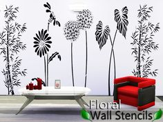 5 floral modern and beautiful stencils.  Found in TSR Category 'Sims 4 Walls'