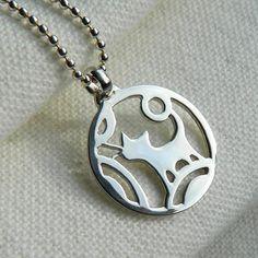 Nippon inspired pendant cat / silver cat pendant