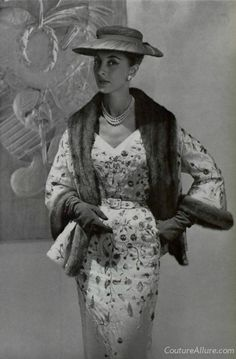 Pierre Balmain embroidered silk dress and fur trimmed jacket, 1954.  Embroidery done by Lesage.