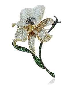 Große Blütenbrosche mit 14ct Diamanten und Olivin, Gold,9,5cm