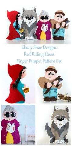 """DIY Red Riding Hood finger puppets for your little ones to treasure!   """"These fab puppet patterns come with step-by-step instructions and are virtually idiot-proof.  (From the idiot!)"""""""