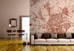 Turn entire walls into an aerial map of any 'hood.. Create your own map wall mural.