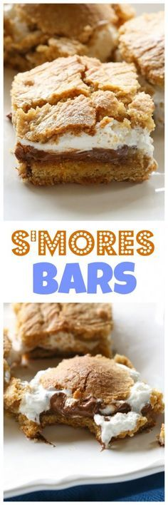 S\'mores Bars - layers of graham cracker dough, marshmallow, and gooey chocolate. the-girl-who-ate-...