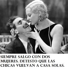 """Groucho (Groucho Marx) to Lucille (Thelma Todd): """"Oh, why can't we break away from all this, just you and I, and lodge with my fleas in the hills? flee to my lodge in the hills."""" -- from Monkey Business directed by Norman Z. Hooray For Hollywood, Hollywood Stars, Hollywood Glamour, James Dean, Steve Jobs, Vintage Hollywood, Classic Hollywood, Zeppo Marx, Thelma Todd"""