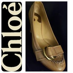 Chloe Leather Italy Pumps Chloe Signature Designer Shoes, Richly Pebbled Italian Leather Pumps, Gold Tone Buckle Style at Toe with Heels 3 inches  Leather Upper,  Lining,  Sole in Excellent Used Condition, Made in Italy, Reasonable Offers Welcome! Chloe Shoes Heels