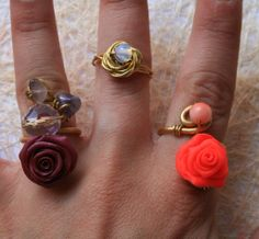 Handmade gold brass rings with polymer clay roses  https://www.etsy.com/listing/119873142/handmade-gold-brass-rings-with-polymer?ref=shop_home_active_6