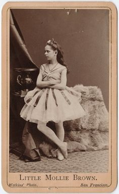 """Carte de visite portrait of """"Little Molly Brown"""", the only female bareback somersault rider in the world, ca. 1855-95"""