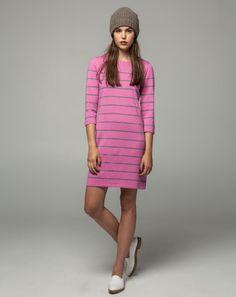 Workshop Denim Waffle Knit Beanie - Mushroom, Merino Brreton Dress - Pink/Grey Marle