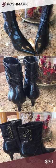 "💕👢NINE WEST POINTY TOE BOOTIES💕👢 100% black leather pointy toe booties.  Comfortable & easy to wear with all your favorite outfits.  Straps & small buckle in the back as pictured. Heel approximately 21/2"".  No scratches or scuff marks on these boots Nine West Shoes Ankle Boots & Booties"