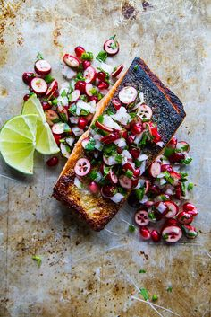 Crispy Salmon with Winter Fruit Salsa - Heather Christo Salmon Recipes, Fish Recipes, Seafood Recipes, Cooking Recipes, Vegetarian Recipes, Seafood Dishes, Fish And Seafood, Fruit Salsa, Salsa Food
