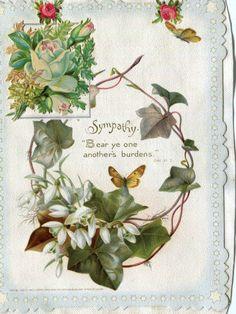 Victorian Religious Greetings Card Pub R Tuck Snowdrops on Linen Album Page | eBay
