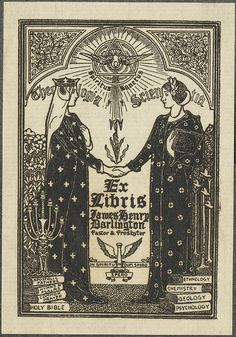 """James Henry Darlington - bookplate by Louis Rhead, 1902    """"Two women (Theology and Science) shake hands under symbol of the Holy Spirit""""..."""