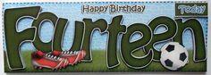 Card Gallery - Large DL 14th Birthday Football Card & 3D decoupage