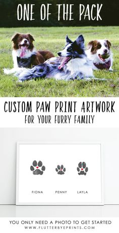 Dog paw print art for your home decor.  This personalized paw print is made with your dog's own paw and can be customized to match your interior.  Dog moms and dog dads will love this special way to cherish your pup. Add on extra paws to include the whole pack! #doglovergifts #dogpaw #dogpawartwork