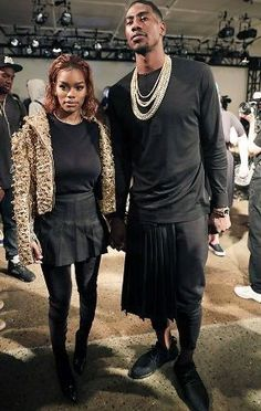 Teyana Taylor and her man Iman Shumpert wear matching skirts to NYC fahion show