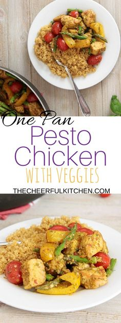 One Pan Pesto Chicken + Veggies is healthy and delicious with homemade   pesto and fresh vegetables. Get the recipe now! From The Cheerful   Kitchen