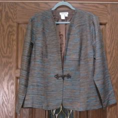 Blue and Brown Blazer With Decorative Clasp Excellent condition. Coldwater Creek Jackets & Coats Blazers