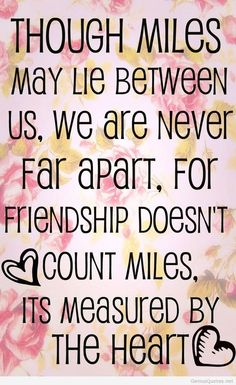 Though miles may lie between us, we are never far apart, for friendship doesn't count miles, it's measured by the heart.
