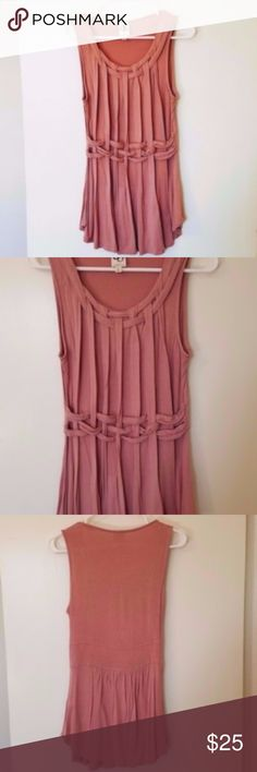 """Anthropologie rose pink woven Greek tank blouse S Anthropologie rose pink woven Greek tank blouse Small. Gently used condition. Greecian style woven in front pleated. One September tag. Very soft stretch fabric. 94% rayon. 6% spandex. RN#123722. Goes great with skinny jeans or Capri pants. Length 29"""". Chest 30"""" and stretches. It's a small but since it's stretch fabric, can fit a medium. Anthropologie Tops Tank Tops"""