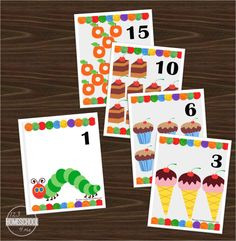 Free pritnable number flashcards with a Hungry Caterpillar inspired theme (toddler, preschool, kindergarten, math, counting)