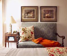 Sitting nook with greens, reds, and oranges + Interior design by: Schuyler Samperton