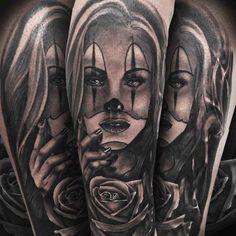artwotk tattoo chicano clown girl