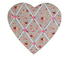 Bacheca portafoto in tessuto Heart, 39x37x2 cm