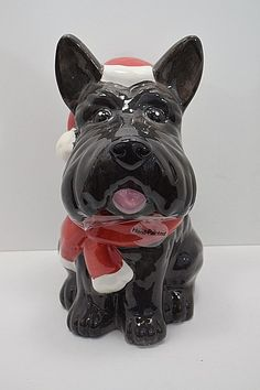 Brown Scottie Dog. Material: Earthenware. Cookie Jar. Wash by hand with mild dish soap. not sure if dishwasher safe. clothing are not washed and therefore will need to be cleaned by their new owners. | eBay! Foods Bad For Dogs, Pet Dogs, Dogs And Puppies, Christmas Cookie Jars, Teacup Chihuahua, Dog Teeth, Labrador Retriever Dog, Bull Terrier Dog, Earthenware