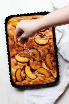 Salty Vanilla & Peach Focaccia