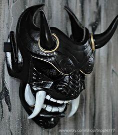 Samurai Assassin Demon Oni BB Gun Airsoft Masque, Halloween Costume Cosplay Ninja Warrior Devil Evil Hannya Kabuki Home Decor Wall Mask - - Maske Halloween, Halloween Costumes, Armadura Ninja, Oni Maske, Mascara Oni, Steam Punk, Samourai Tattoo, Armas Ninja, Diy Masque