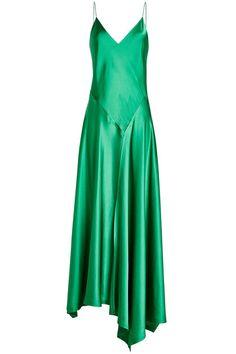 Satin Dress with Asymmetric Hemline   DKNY