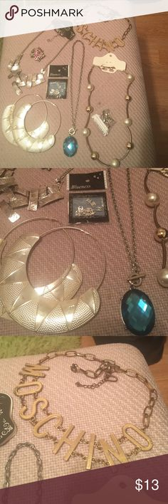 Jewelry bundle 👑 8 pieces jewelry bundle some brand new some  used ( necklaces earrings brooch C nail art and key chain 👠). Silver brand new necklace on your left apart on one spot but the connection metal is going to be shipped you can just connect it it's easy. I took many photos so you can see the condition of each piece Jewelry Necklaces