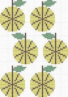 ロッタキュールホルンのイエローアップルの図案 | Sabotenのアメブロ編 Marimekko, Textile Art, Diy And Crafts, Cross Stitch, Tapestry, Embroidery, Sewing, Knitting, Charts
