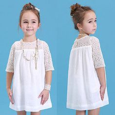 2016 New Kids Baby Girls White Chic Fairy Lace Floral Party Solid Gown Fancy Dresses Baby Summer Casual Dress Clothes(China (Mainland)) White Boho Dress, Girls Lace Dress, Little Girl Dresses, Baby Dress, Girls Dresses, The Dress, White Lace, White Chic, Dress Lace