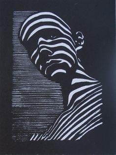 Felix Lucero, Blind Curve, linocut, inches, made at San Quentin State Prison. Kunst Inspo, Art Inspo, Art And Illustration, Arte Linear, Tableau Pop Art, Lino Art, Linocut Prints, Art Prints, Psychedelic Art