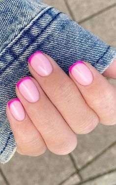 Pink Tip Nails, French Manicure Nails, French Tip Nails, Fancy Nails, Gel Nails, Short French Nails, Summer French Nails, French Tips, Short Nails