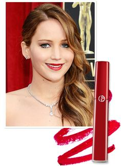 Spring 2013 Makeup: Best Celebrity Makeup, OPI Nail Polish, Mac Lipstick - Makeup - InStyle.comJennifer Lawrence's True Crimson Shade When Old Hollywood glamour serves as inspiration, what better way to finish the look than with a classic red lip? At the SAG Awards, Jennifer Lawrence opted for Giorgio Armani's Lip Maestro in #400 The Red, a blue-based crimson that delivers saturated color with a matte finish. Marilyn Monroe would have been proud!