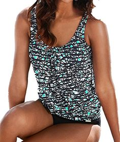 1fc3d091018d1 crazycatz Crazycatz@Women Two Piece Blouson Sporty Tankini Set Plus size  Swimwear