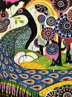 Colorful peacock art <3