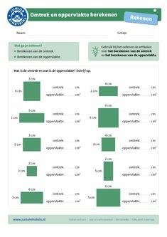 Omtrek en oppervlakte berekenen [1] - Junior Einstein - Groep 7 - Groep 8 - Met dit werkblad oefen je het berekenen van de omtrek en oppervlakte. Er zijn verschillende vlakken te zien. De maten zijn bij deze vlakken aangegeven. Nu is het aan jou de taak om uit te rekenen wat de omtrek is en wat de oppervlakte is. Tip: kijk voor het oefenen nog even naar de artikelen over het berekenen van de omtrek en de oppervlakte! Teaching Activities, Teaching Math, Busy Bee, Kids Education, Kids Learning, Homework, Grammar, Spelling, Einstein
