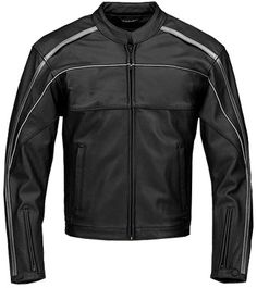 Black and Silver Stripe Leather Jacket