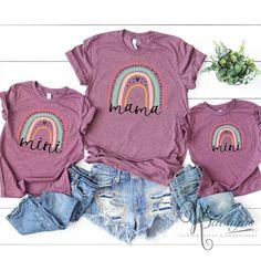 Mom Shirt / Mommy and Me Shirt / Mama & Mini / Rainbow   Etsy
