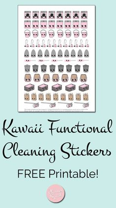 free functional kawaii cleaning stickers