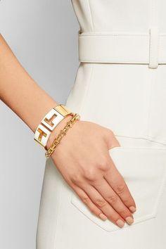 Tiffany & Co - T Cutout 18-karat Gold And Ceramic Cuff - M